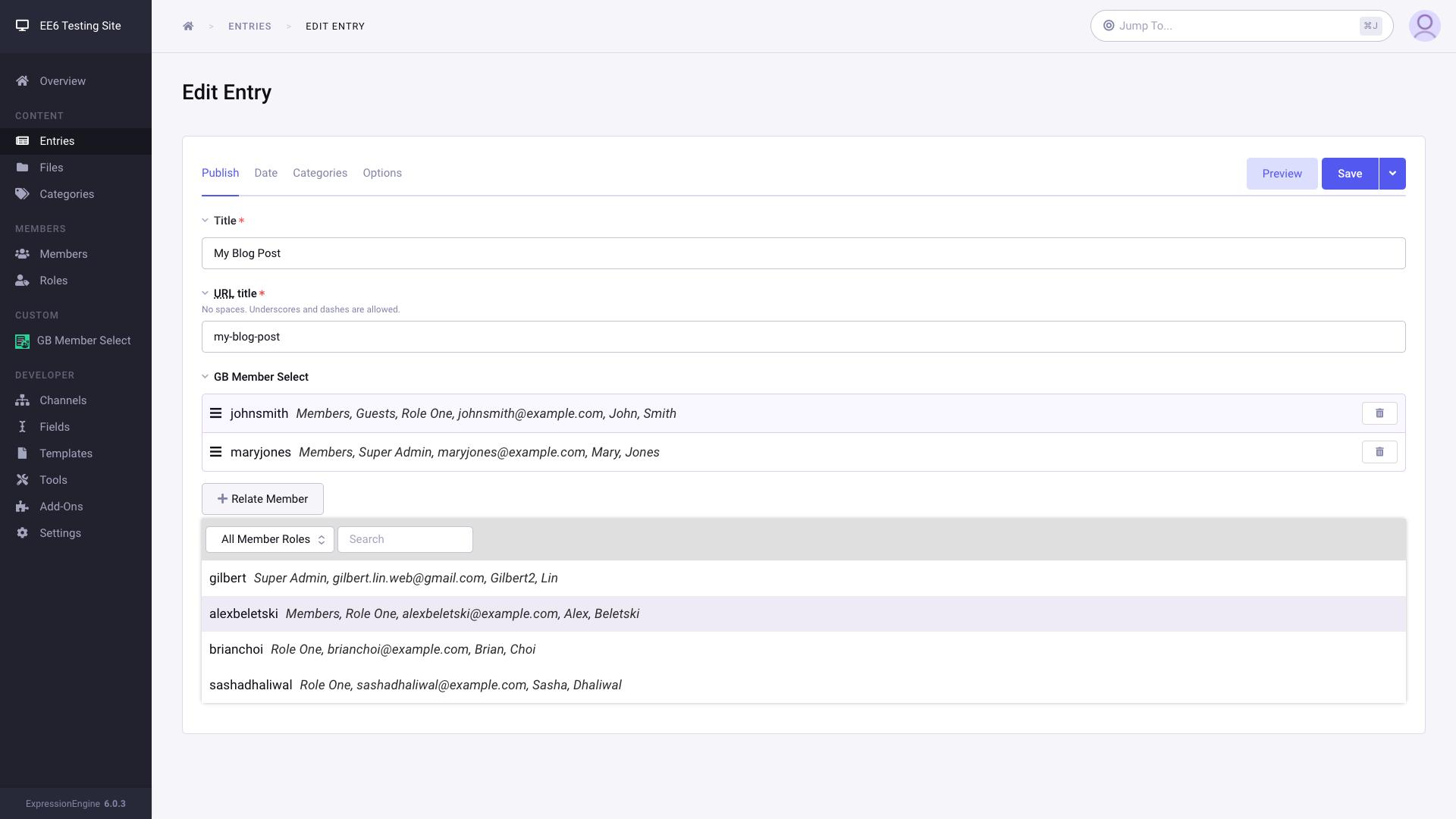 Screenshot of GB Member Select on entry edit screen